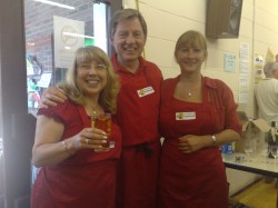 President Lion Tom Sayers with helpers Pauline Porter and Juliet Browne