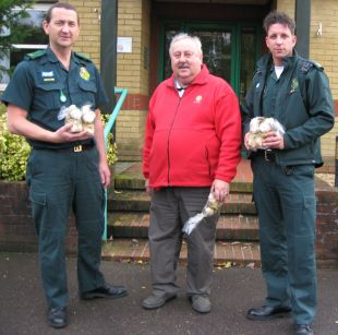 Lion John Geering with local ambulance crew and cuddly lions