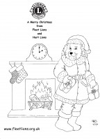 Santa by a fireplace drawing